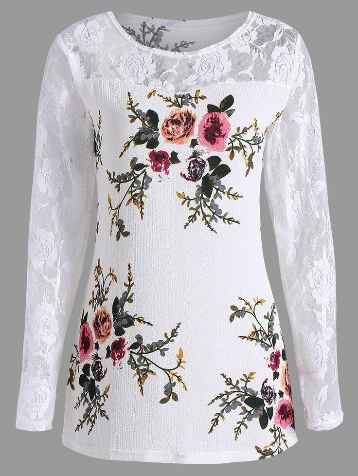 Plus Size Fashion | $11.51 | Plus Size Lace Panel Floral Print Top | Sammydress.com
