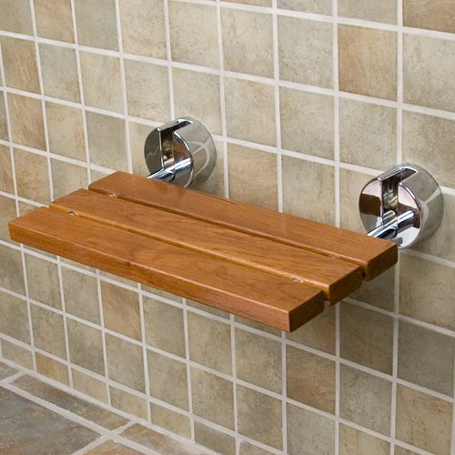 "Teak Wood Modern Folding Shower Seat; Overall dimensions: 21"" L x 13-1/2"" W (front to back) x 4"" H (± 1/2""); Seat only dimensions: 20-1/8"" L x 9"" W (± 1/2""); $170"
