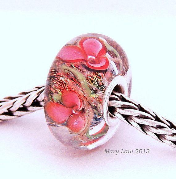 Summer Wildflower Garden Floral Glaslight Artisan Handmade Lampwork Glass Murano Dichroic Sparkle Bead SRA via Etsy