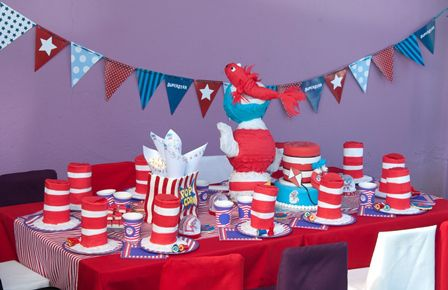 Cat in the Hat party: Inspired by the comical children's book, Cat in the Hat by Dr Seuss, this fun party theme is ideal for boys or girls. Add more feminine touches for a girl's party by adding a little more pink and purple detail, as the blue, red and white tends to be more masculine.