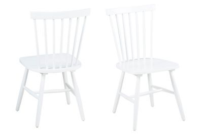 This pair of 'Rhone' chairs are perfect for adding a contemporary touch to breakfast and dining areas. They feature sturdy wooden frames in a classic, slatted farmhouse style while the lacquered white finish creates a statement look.