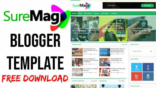 Suremag Best Free Responsive Blogger Template Without Footer Credit In 2020 Blogger Templates Responsive Blogger Template Templates