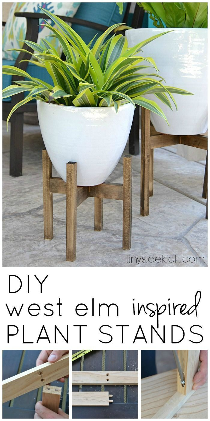I love the look of simple wooden plant stands and this easy tutorial ads  instant height
