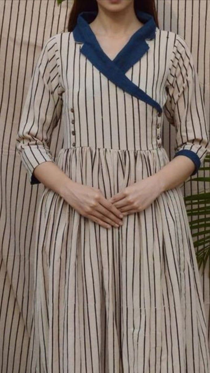 Beautiful Dress With Shawl Collar And Buttons Detailing Salwar Neck Designs Dress Neck Designs Kurta Neck Design