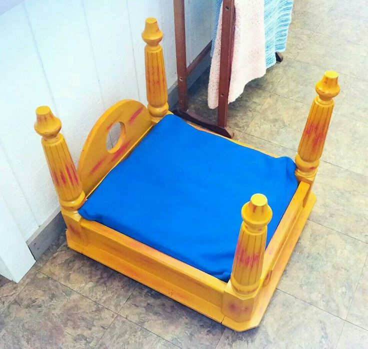 Eclectic dog bed made from end table