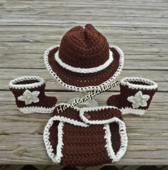 Crochet Newborn Baby Cowboy Hat Boots Outfit by HandcraftedLoot