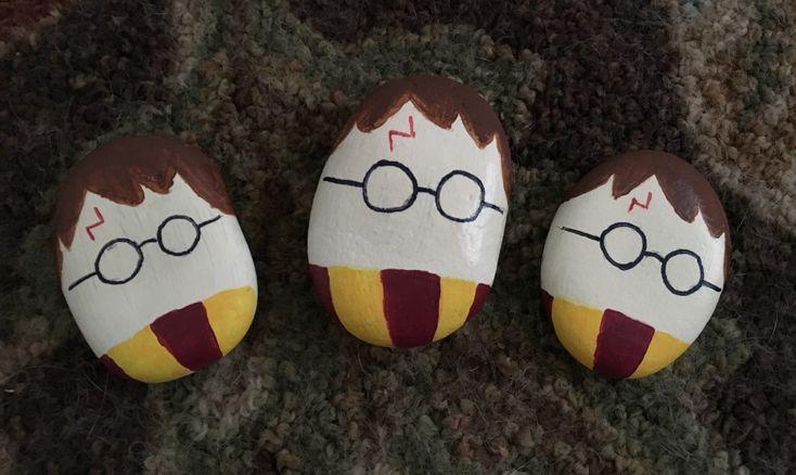 Harry Potter Series Rock Painting Find us on Facebook at Northeast Ohio Rocks #northeastohiorocks #harrypotter