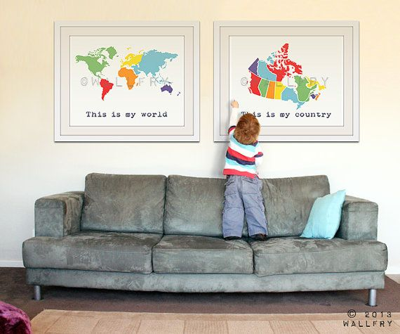 Set of 2 world map and country map poster wall art for playroom, kids wall art. 2- 11X14 prints by WallFry