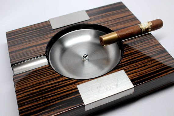 Ebony Wood Cigar Ashtray with Tiger Finish - Personalized Groomsmen Gift for Men, Birthday, For Him, Cigar Box, Father's Day, Christmas
