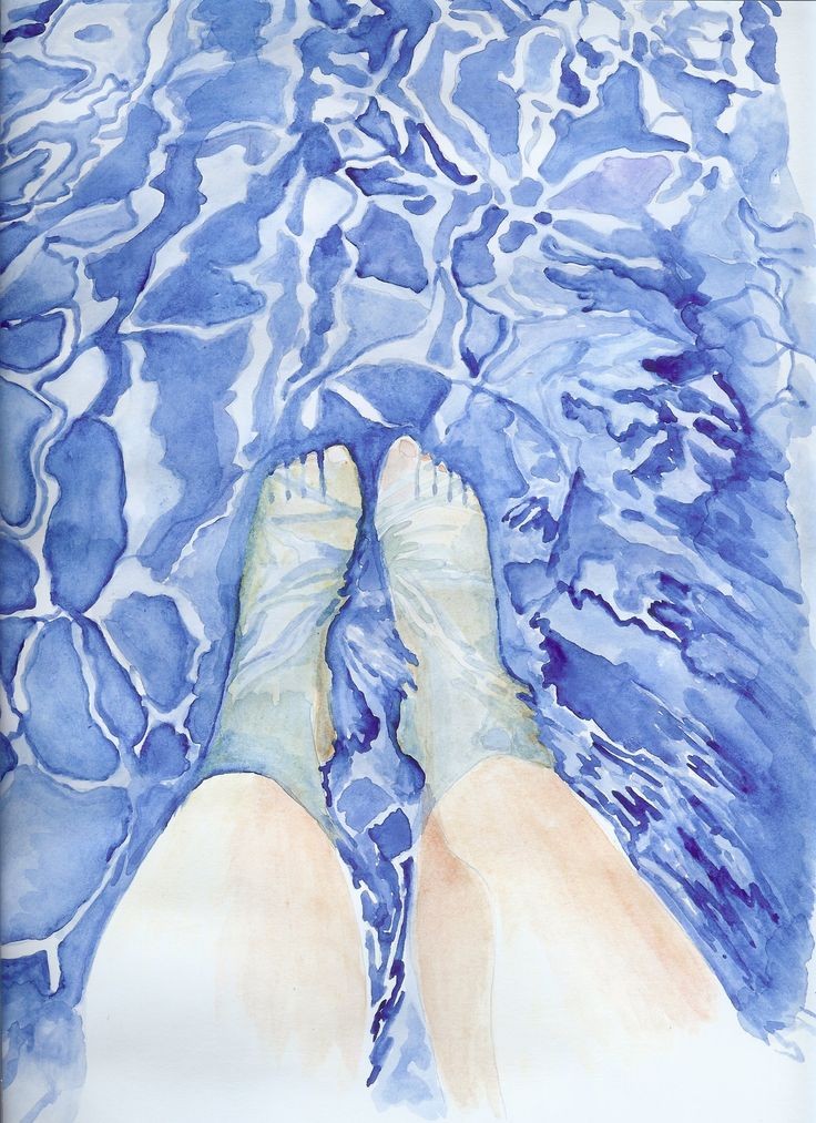 Feet in the pool by @artoutloop #watercolor, #illustration, #water, #reflections, #legs, #pool,  #watercolor #art #print #painting