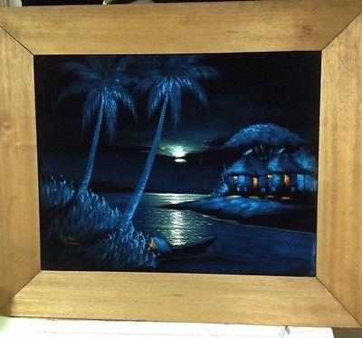 Vintage-Tropical-Painting-On-Black-Velvet-Signed-By-Artist-1950-1969-Original