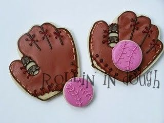 Baseball Cookie Favors  Softball Cookie Favors by rollinindough