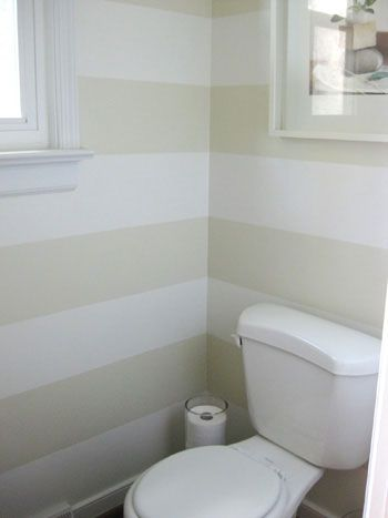 young house lovePowder Room, Downstairs Bathroom, Stripes Wall, Guest Bathroom, Small Bathroom, Half Bath, Bathroom Wall, Bathroom Ideas, Painting Ideas