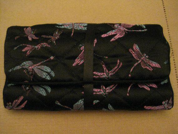 UnUsed Vintage Padded Black Silk Dragonfly by vtseredipityboutique