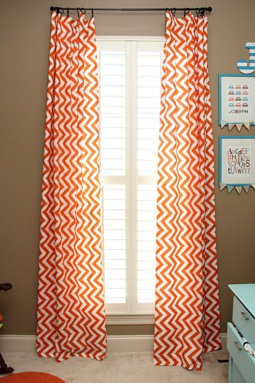 orange and turquoise baby nursery chevron curtains