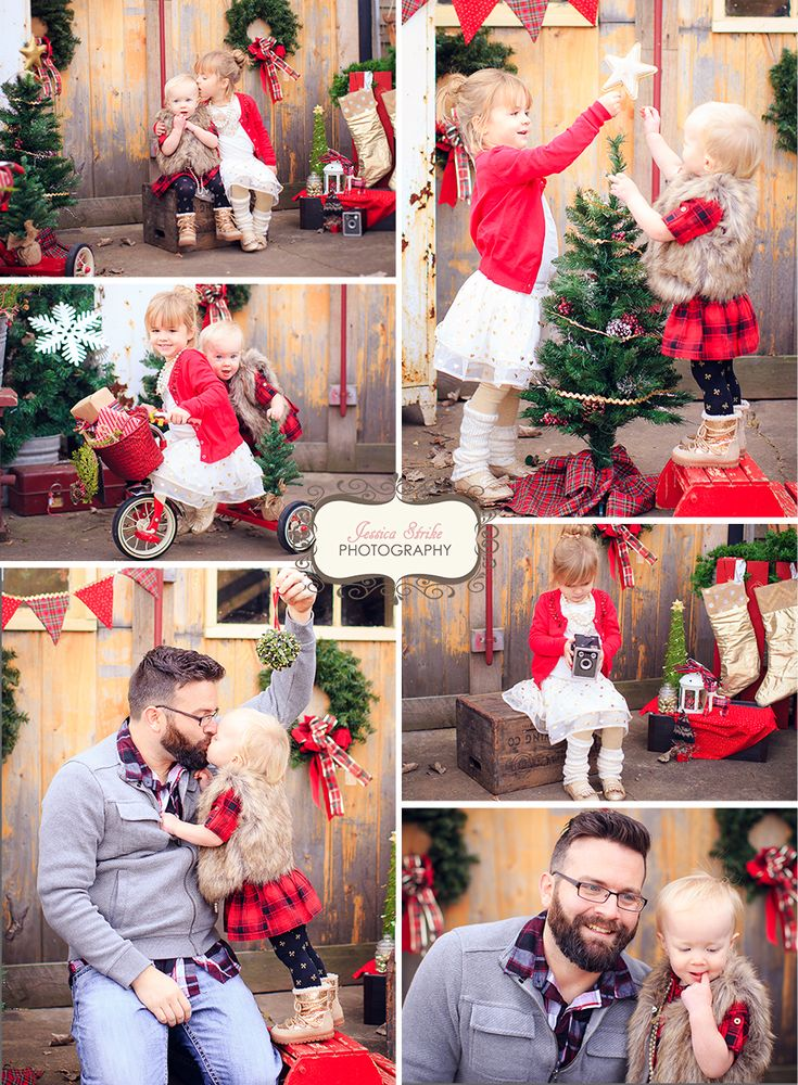 Vintage Christmas plaid and gold mini session by Jessica Strike Photography, Appleton WI Family & Child Photographer. What to wear for Christmas photos, Christmas plaid, vintage Christmas