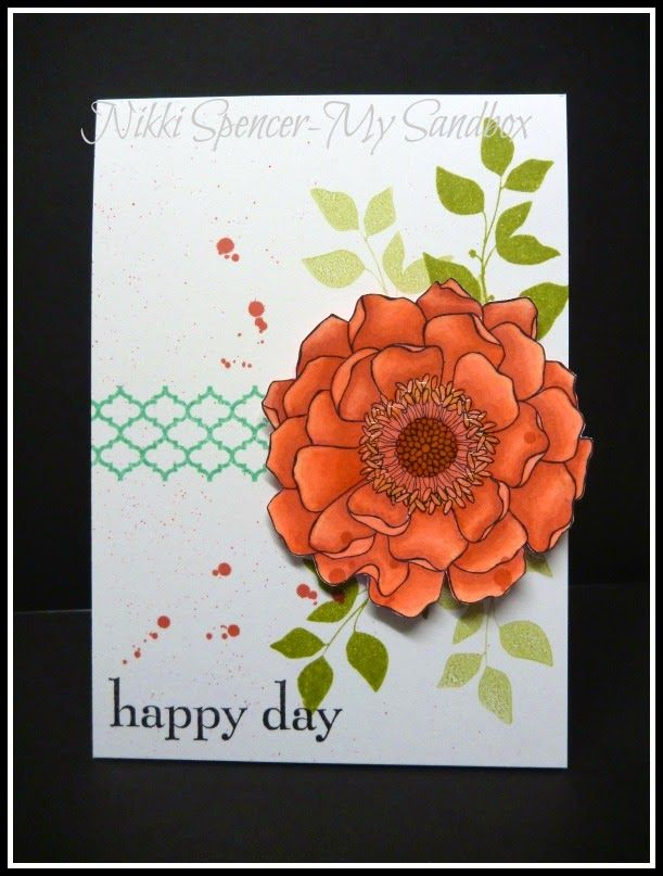 "handmade card from My Sandbox ... luv how she ""layered"" the Blended Bloom image using Blendabilities markers in Calypso Coral ... like the splatters too ... Stampin'Up!Stampinup, Blends Bloom, Cards Ideas, Bloom Blendabilities, Su Blends, 2014 2015, Stampin Up, 2014 15, Flower Cards"