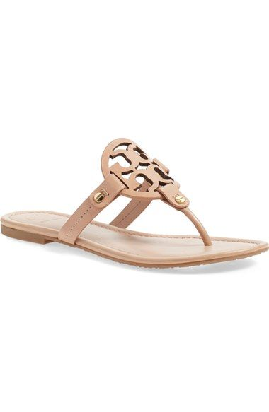 "Tory Burch Miller sandals. In the color ""Makeup"" which is a blush nude"
