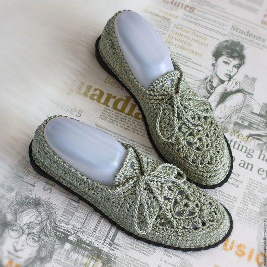 Обувь ручной работы. Ярмарка Мастеров - ручная работа. Купить Мокасины вязаные Green Silver. Handmade. Серый, сменная обувь