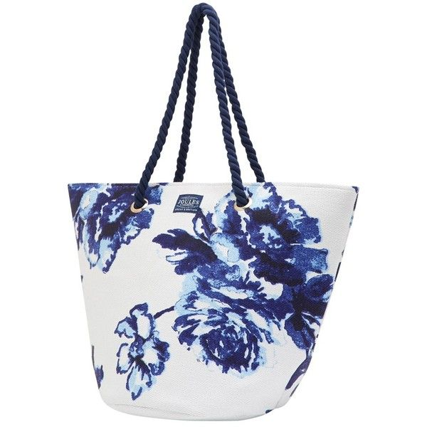 Joules Summerbag Beach Bag , Navy Rose ($29) ❤ liked on Polyvore featuring bags, handbags, tote bags, navy rose, nautical tote, beach tote, white tote bag, beach bag and handbags purses