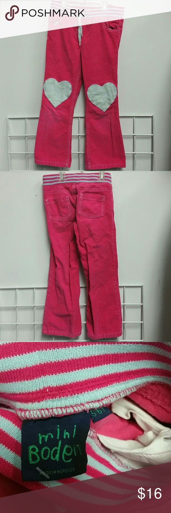 Mini Boden cord pants girls 5-6 Vguc stretch waist corduroy with hearts on the knees Mini Boden Bottoms Casual