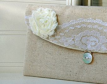 Items similar to Burlap clutch Bridesmaid gift Country wedding Monogrammed bag with macrame lace personalized gift cosmetic bag monogramed make up bag on Etsy