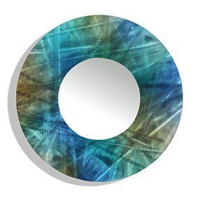 Round wall décor is not only beautiful but trendy. In fact, whether it be a chic round wall  clock, or piece of round metal wall art or even a round mirror wall art, you  will appreciate the variety of materials available that round wall art comes  in.       23-inch Jon Allen Metal Round Decorative Wall-Mounted Mirror, Blue/Teal/Brown