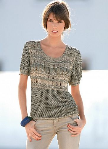 Pull manches courtes pattern by Bergère de France  Free pattern Go to; pinterest.com/... for  2500 and more FREE knit patterns