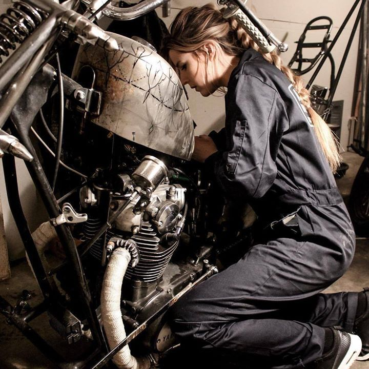 Women who ride... Know any? @idaliol working on her ride - More at Choppertown.com