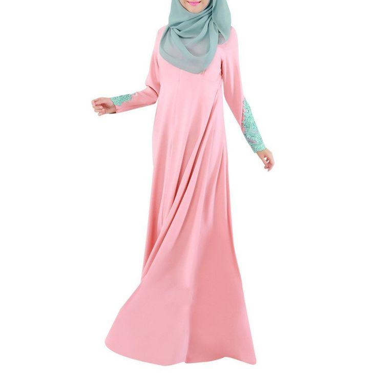 Moslem Muslim Muslimisch Moslemisch Kleidung Kleid Kostüm Frauen Kleider Langes Kleid Rock Spitze Makramee Sonntag Kleidung rosa L