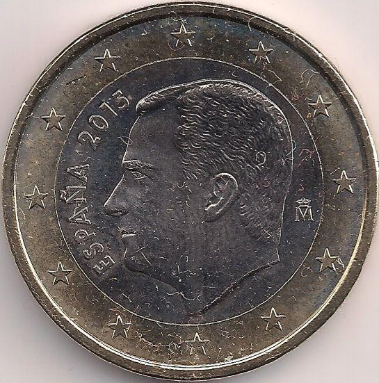 B 23.11mm, H 23.36mm Motivseite: Münze-Europa-Südeuropa-Spanien-Euro-1.00-2015