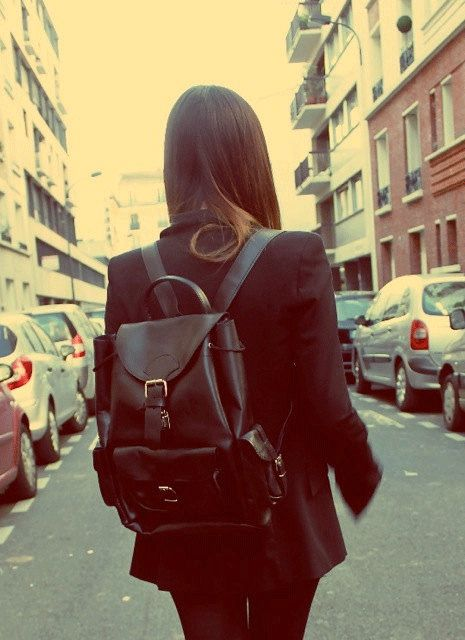 Leather Black Backpack With Buckle