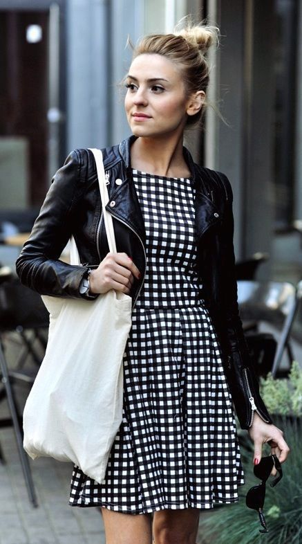 #street #style pattern print dress + leather jacket @wachabuy