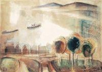 Egry József: Balatoni táj fákkal, 1926-28 | axioart.com