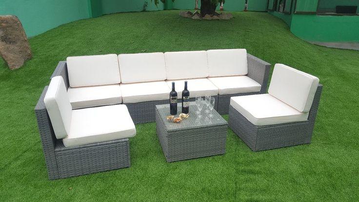 7pcs Grey Wicker Patio Sectional Indoor Outdoor Sofa Combination Furniture Set #mcombo