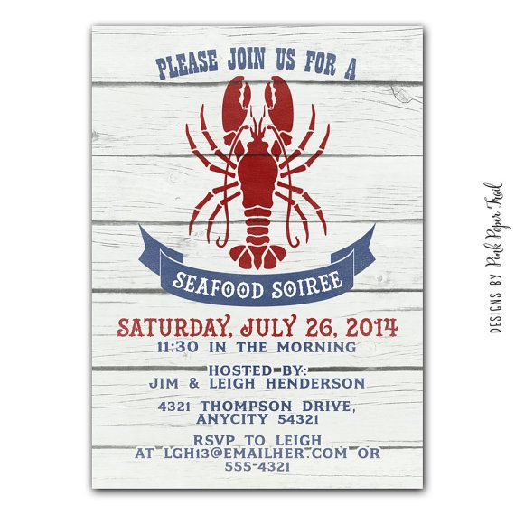 Seafood Party Invitation  Lobster Party  by PinkPaperTrail on Etsy, $15.00 #nauticalparty #seafoodparty #nauticalpartyideas