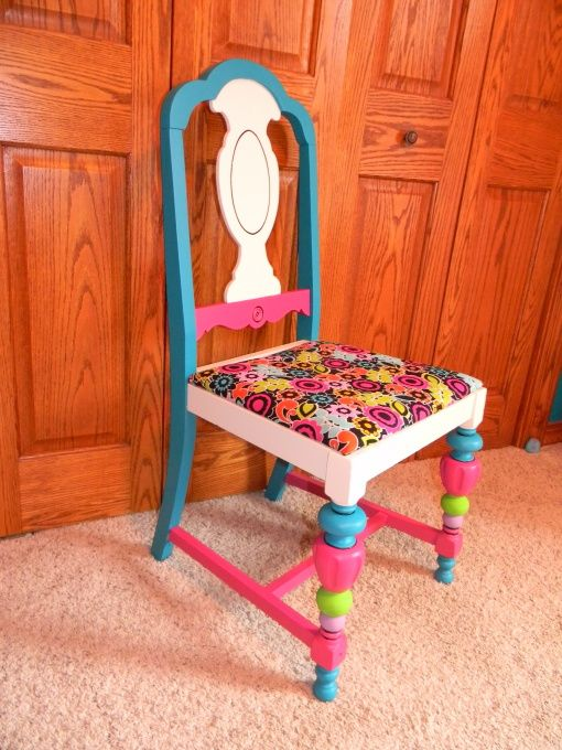 Painted kids chair, This is a chair I found at a thrift store for $4.00. I painted it up to match my daughters room :), Painted up and has a happy home :), Home Decor Project