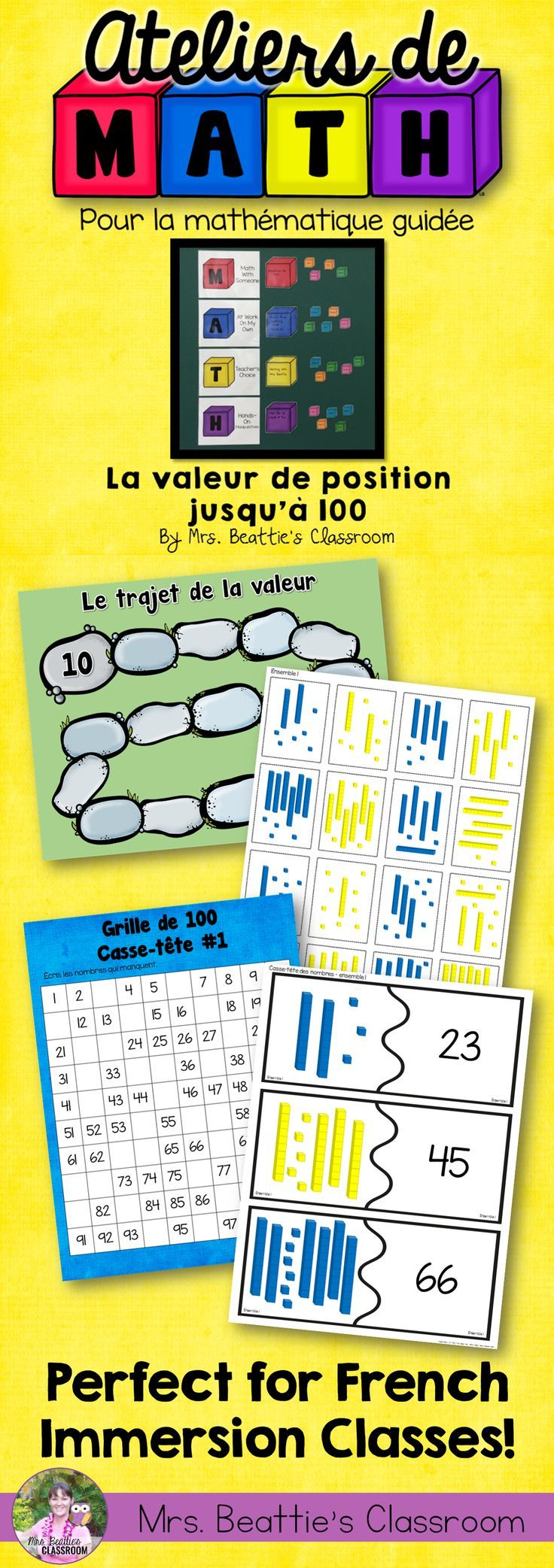 Using a Guided Math or Daily 5 Math approach in your French Immersion classroom? This Guided Math: Place Value to 100 resource from Mrs. Beattie's Classroom is for you! Just the right number of activities for three weeks of rotations! All student pages are French, teacher instructions in both English and French! #guidedmath #french #enfrancais #centres #classroom