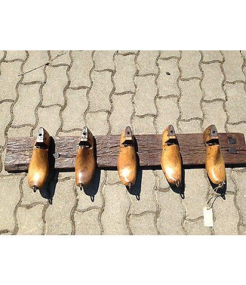 Wandgarderobe Schuhleisten 5er Haken Garderobe Retro Upcycling Recycling Holz  - 2-flowerpower