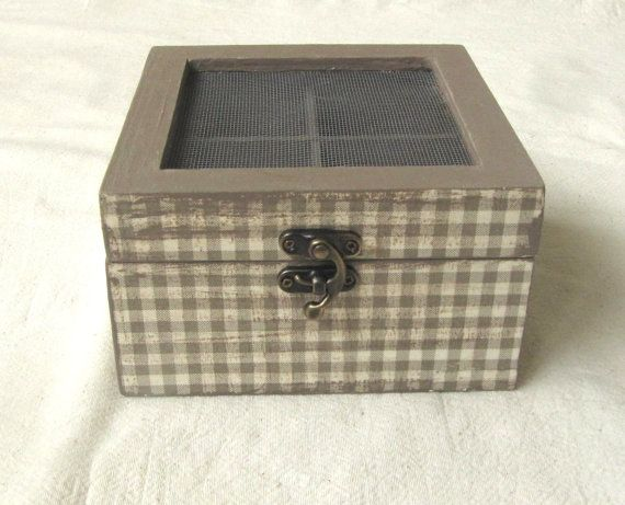 Wooden tea box with dividers and wire decoupage by ArtandWoodShop