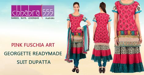 Get PINK FUSCHIA ART GEORGETTE READYMADE SUIT DUPATTA from Chhabra555 in Australia @ $81.95 AUD and get free shipping for orders of $75 and more.