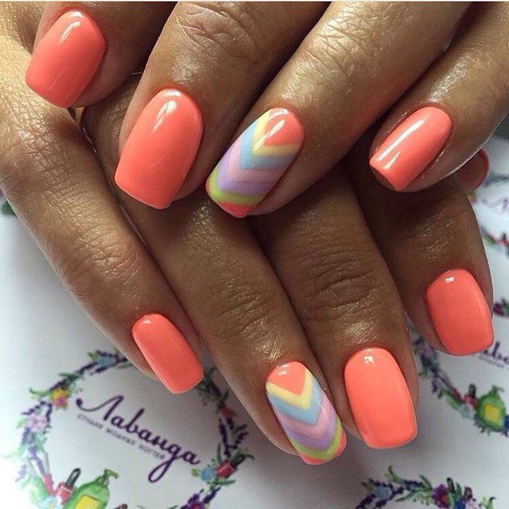 Beautiful bright nails, Bright colorful nails, Bright summer nails, Nails ideas 2017, Nails with orange color, Neon nails, Orange summer nails,…