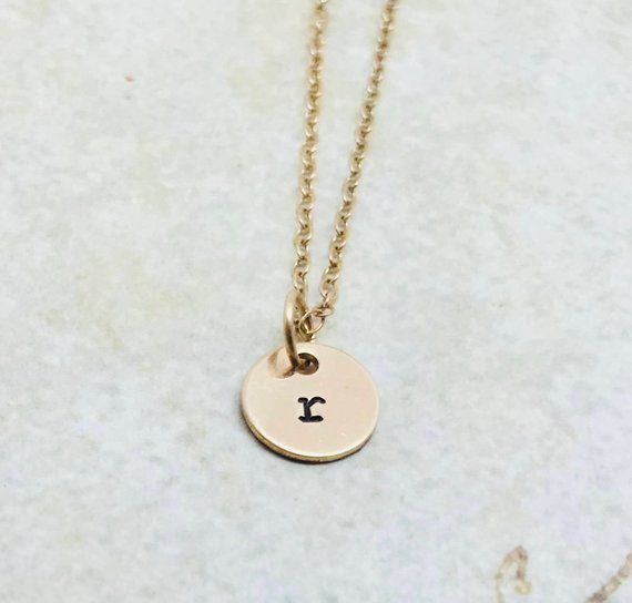797f8f0d7 Initial Necklace, Gold, Letter r Necklace, Choose your letter, Personalized  Jewelry, Lower Case, Han