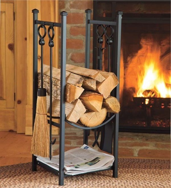 Indoor firewood rack w fireplace tools log storage for Log storage ideas