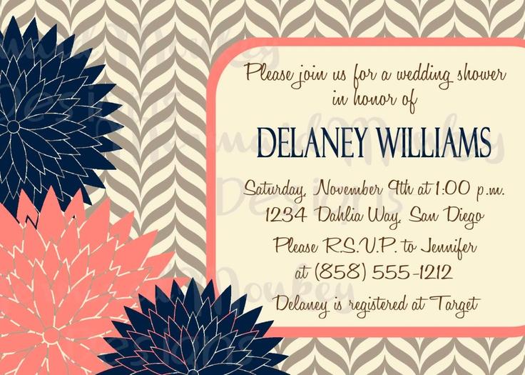 coral and navy wedding birds invites | ... Invitation - Wedding Shower - Printable Invite - Navy Coral - Delaney