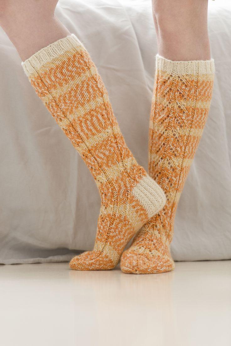 Novita wool socks, Lace socks made with Novita 7 Brothers yarn #novitaknits #knitting #knits #villasukat #raggsockor https://www.novitaknits.com/en
