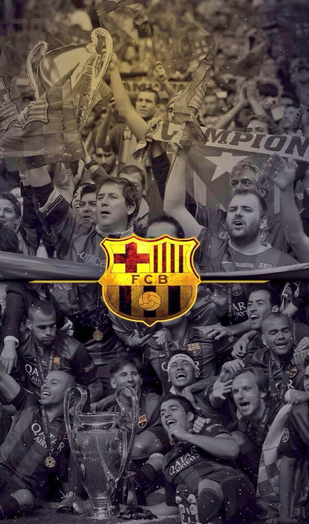 706. Wallpaper: Campions celebrate and shield - via @barcastuff