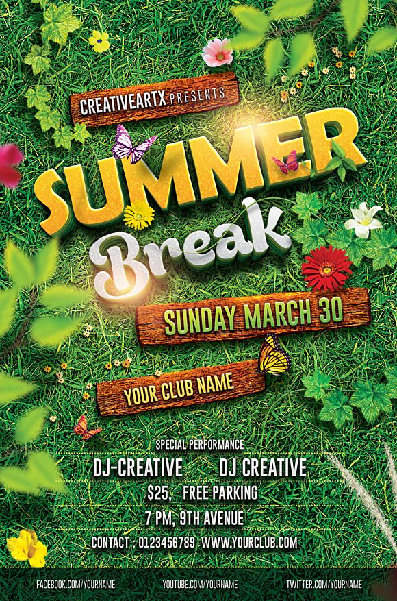 Spring Break Summer Party Flyer | logo ideas | Pinterest ...