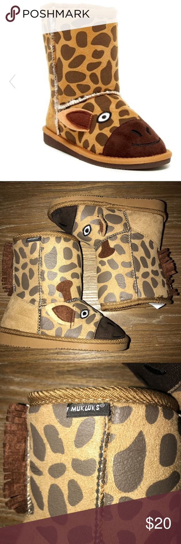 MUK LUKS Gabby Giraffe Faux Fur Lined Boots Toddler/Little Kid Size 10   New without Box! Excellent!   These quirky boots will be a definite favorite for your little one! - Round toe - Giraffe face embroidered vamp with ear applique detail - Allover print - Pull-on - Faux fur lining - Solid contrast back with fringe trim detail - Imported Muk Luks Shoes Boots