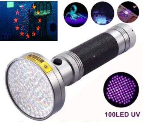 Zeer Krachtige UV Zaklamp 100 Leds 395nm Ultra Violet Licht voor de  Opsporing van Urine vlekken door Huisdieren, Geo-caching, en Controle Namaak & Vals Geld